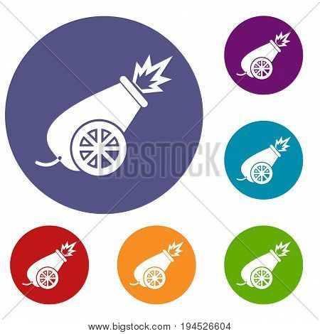 Circus cannon icons set in flat circle reb, blue and green color for web