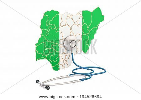 Nigerian map with stethoscope national health care concept 3D rendering