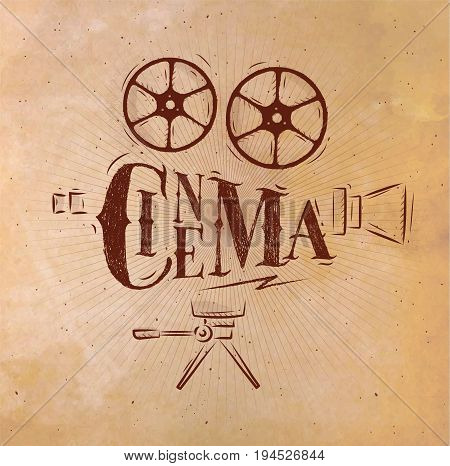 Poster movie camera lettering cinema in retro style drawing with craft