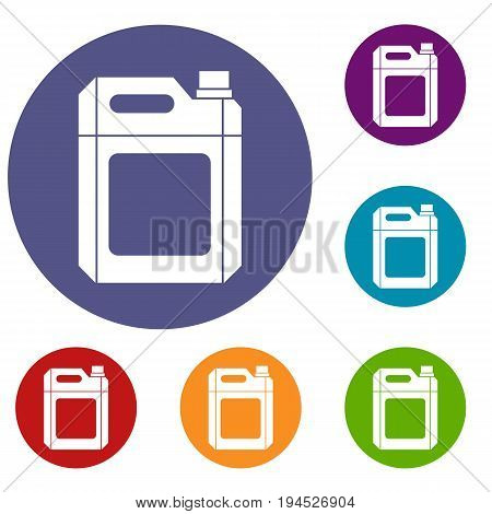 Plastic jerry can icons set in flat circle reb, blue and green color for web