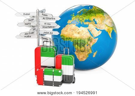 United Arab Emirates travel concept. Suitcases with UAE flag signpost and Earth globe. 3D rendering
