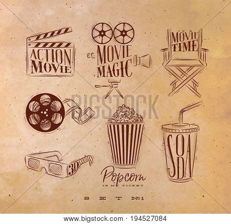 Cinema signs clapperboard movie camera chair cine film 3d glasses popcorn soda drawing with with craft set 1