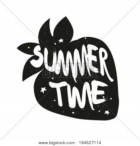 Silhouette of strawberry with lettering text Summer time. Vector sticker.