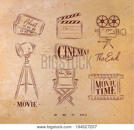Cinema symbols ticket clapperboard movie camera horn searchlight chair for a movie star cine film drawing with craft set 2