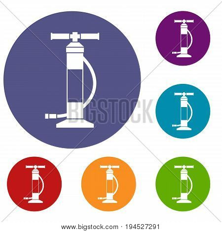 Hand air pump icons set in flat circle reb, blue and green color for web