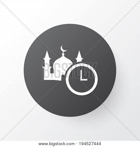 Time Icon Symbol. Premium Quality Isolated Namaz Element In Trendy Style.