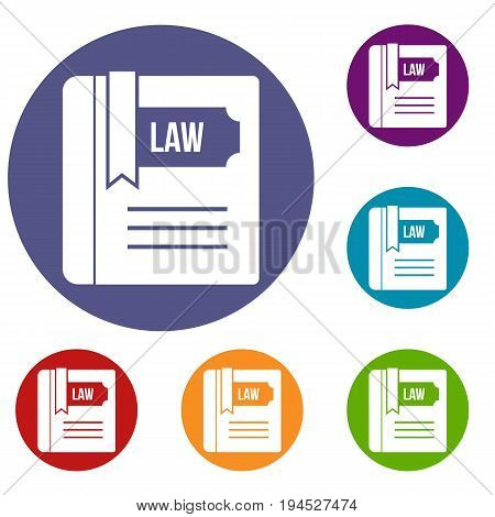 Law book icons set in flat circle reb, blue and green color for web