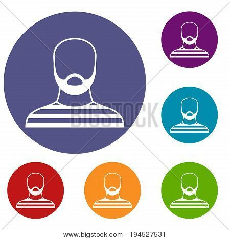 Bearded man in prison garb icons set in flat circle reb, blue and green color for web