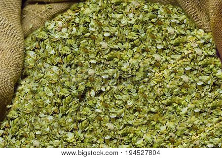 Dried hops collected in a bag the basis of preparation of a tasty and aromatic drink for a hot summer day