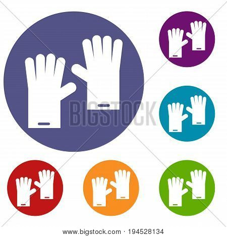 Rubber gloves icons set in flat circle reb, blue and green color for web