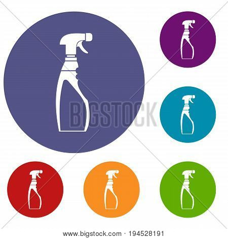 Sprayer bottle icons set in flat circle reb, blue and green color for web