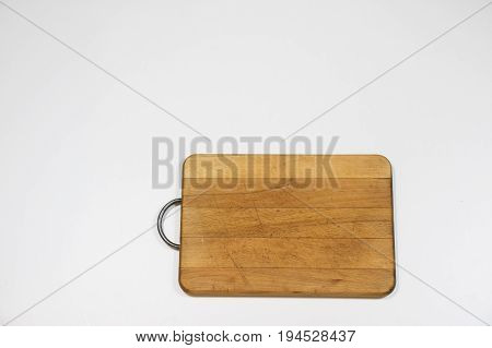 Old Chopper And Plank On White Background, Tools For Butcher