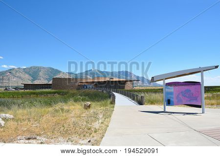 BRIGHAM CITY, UTAH - JUNE 28, 2017: Bear River Migratory Bird Refuge visitor center. The refuge encompasses the Bear River and its delta where it flows into the northern part of the Great Salt Lake.