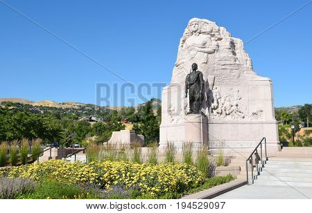 SALT LAKE CITY, UTAH - JUNE 28, 2017: Mormon Battalion Monument. The monument commemorates the 500 Mormon volunteers who joined the U.S. Army during the Mexican War.
