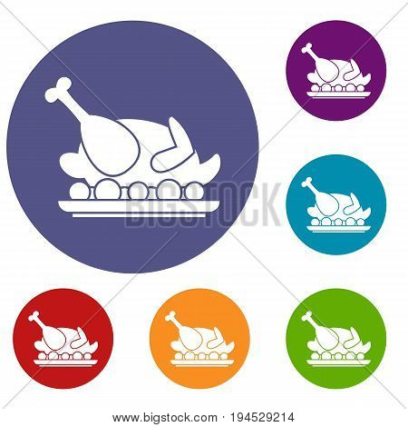 Roasted turkey icons set in flat circle reb, blue and green color for web