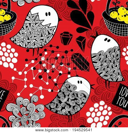 Creative red background with doodle birds, crystals and design elements. Vector seamless pattern in doodle style.