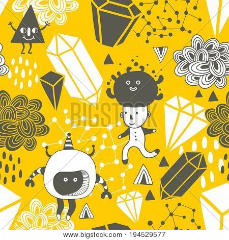 Seamless pattern with strange creations and design elements. Vector endless background.