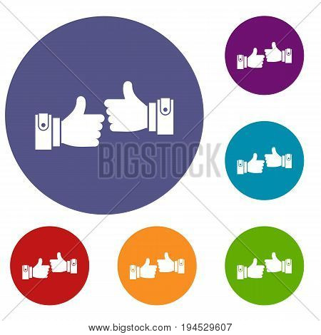 Male hands showing Ok sign icons set in flat circle reb, blue and green color for web