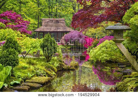 Travel Concepts. Amazing Picturesque Scenery of Japanese Garden with Asian Zen Sculptures on Background in the Hague (Den Haag) in the Netherlands Straight After the Rain. Horizontal Shot