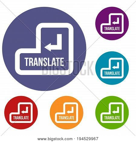 Translate button icons set in flat circle reb, blue and green color for web
