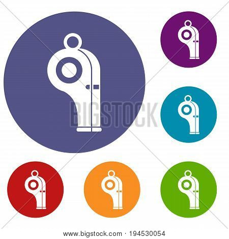 Sport whistle icons set in flat circle reb, blue and green color for web