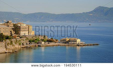 View on the old town of Kerkyra on the island Corfu Greece.