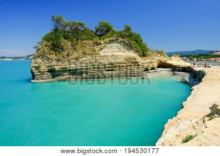 View on the Canale d'Amore and the beach Sidari on the island Corfu Greece.