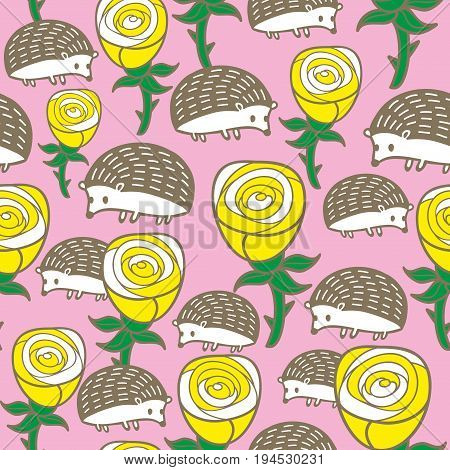 Colorful seamless pattern with roses and hedgehogs. Vector endless background.