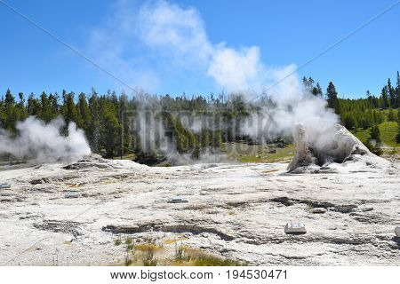 Giant Geyser is the namesake for the Giant Group of geysers, which includes Bijou Geyser, Catfish Geyser, and Mastiff Geyser.