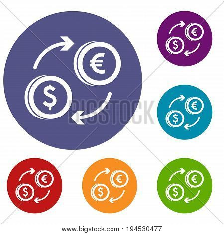 Euro dollar euro exchange icons set in flat circle reb, blue and green color for web