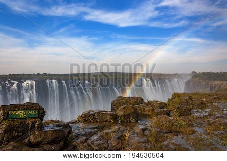 The Rainbow Falls in Victoria Falls Zimbabwe Africa; Concept for travel in Africa