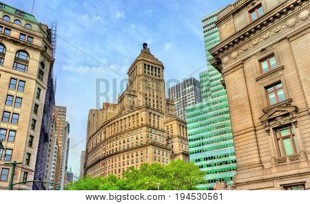 Broadway, a historic building in Manhattan - New York City, USA. Built in 1928