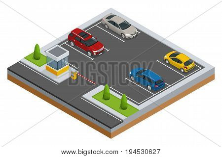 Isometric Cars in the parking lot or car parking. City parking vector web banner isometric flat vector style. Urban infrastructure and car boom