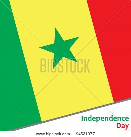 Senegal independence day with flag vector illustration for web
