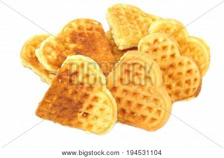 Fresh vaffel cookies on a white background, close up