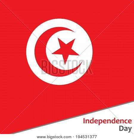 Tunisia independence day with flag vector illustration for web