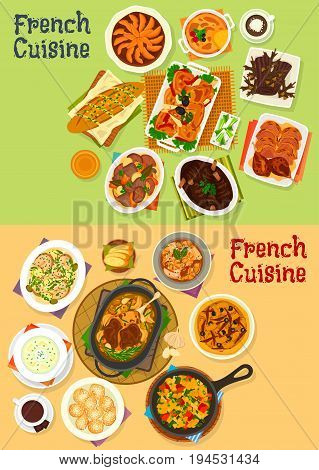 French cuisine dinner icon set. Vegetable meat stew, bread, seafood and potato cream soup, baked lamb, chicken and duck with veggies, chocolate cake, onion olive pie, apple tart, creme brulee dessert