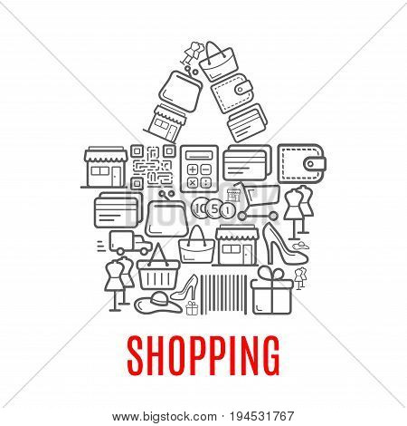 Shopping bag symbol made up of sale icons such as money, shopping cart, gift box, wallet, store, discount price tag, delivery truck, bank card, barcode, purse, calculator for retail business design