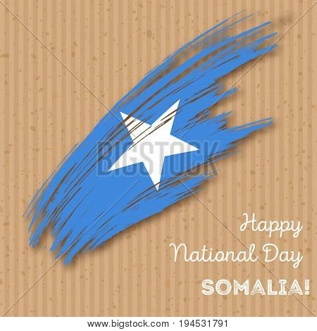 Somalia Independence Day Patriotic Design. Expressive Brush Stroke In National Flag Colors On Kraft