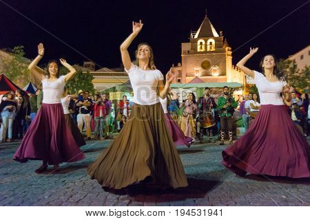 Medieval dancers participate in the medieval festival of Elvas Portugal