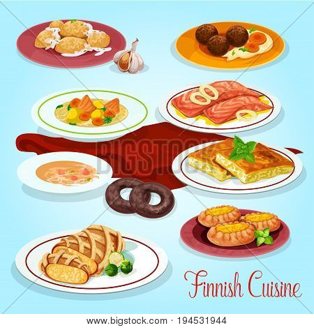 Finnish cuisine traditional food icon with fish vegetable cream soup, potato dumpling, cabbage casserole, meatball with potato mash, salmon steak, rice and fish pie. Scandinavian dinner menu design