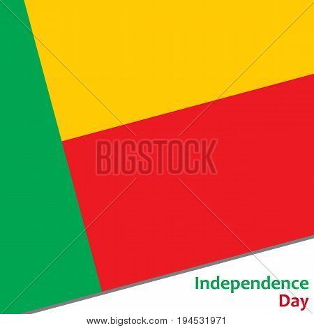 Benin independence day with flag vector illustration for web