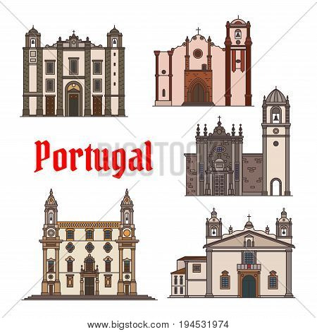 Portuguese travel landmark of religious building thin line icon set of Santo Antonio Church, Roman Catholic Cathedrals in Aveiro, Faro and Silves, Church of St Anthony. Travel and tourism design