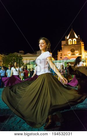 Elvas Portugal - jun 30 2017; Medieval dancers participate in the medieval festival of Elvas Portugal