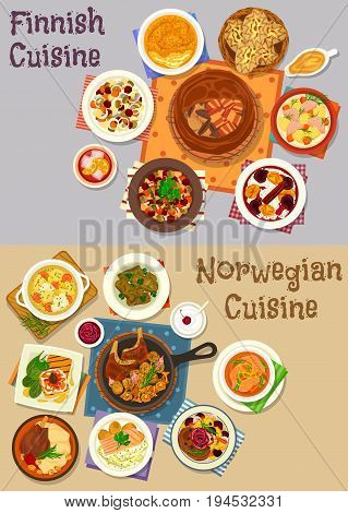 Finnish and norwegian cuisine icon set. Fish and bean soup, vegetable salad with trout and herring, salmon bacon and rice pie, lamb with potato, meat dolma, toast with tartar, rice pudding with berry