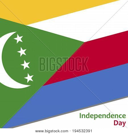 Comoros independence day with flag vector illustration for web