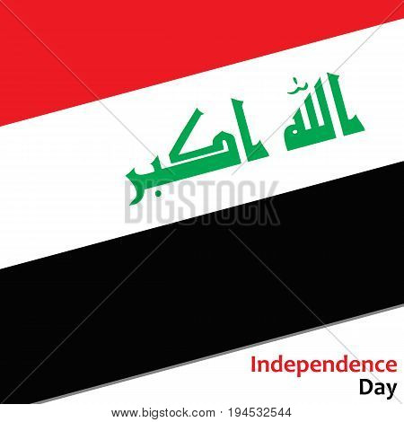 Irak independence day with flag vector illustration for web