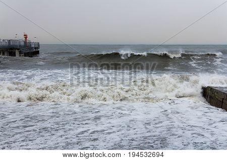 Ocean Beach Sea accumulates a large wave storm covers breakwater
