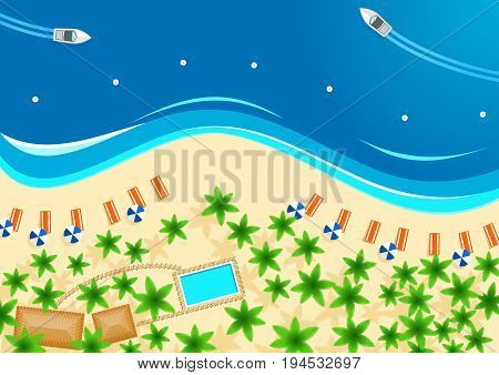 Tropical resort sand beach, summer vacation poster. Coast line top view of blue sea with yacht, beach with palm tree, umbrella, lounge chair, swimming pool and bar area. Summer holidays, travel design