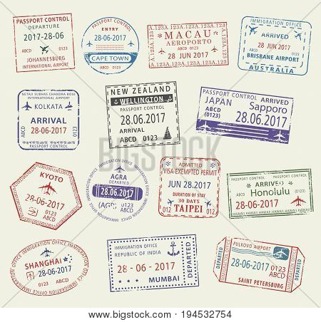 Passport stamp set. Travel visa passport control and immigration office stamp of China, Japan, India, Russia, Australia, Africa and New Zealand countries. Tourism, vacation and business trip design